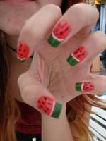 nail art - watermelon by nata510