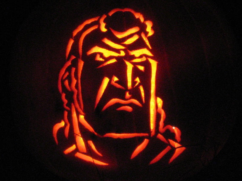 Brock Samson pumpkin by chromegoddess