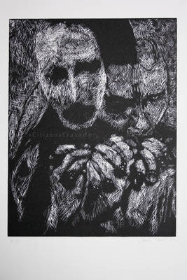 Marilyn Manson. Linocut