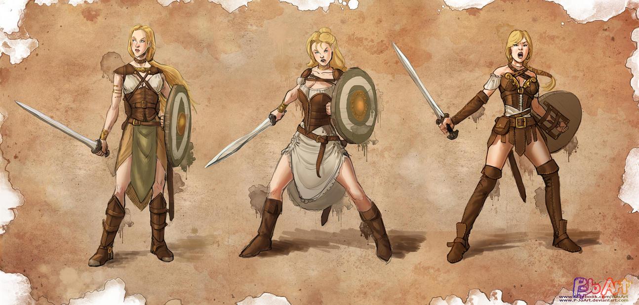 Warrior Girl - Character Design by P-JoArt on DeviantArt