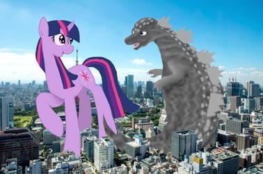 Twilight And Godzilla In Tokyo  by mr100dragon100