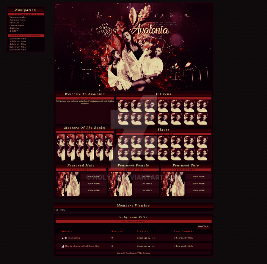 Vampirefreaks Cult Layout - Avalonia by HolyVF on DeviantArt