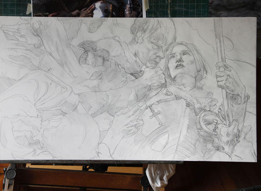 Joan of Arc - preliminary Drawing by DonatoArts