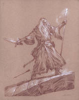 Gandalf on the Bridge of Khazad-dum by DonatoArts