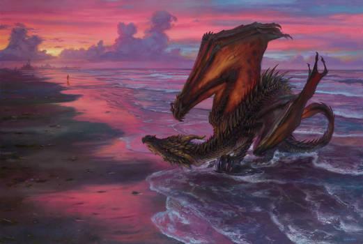 Drogon and Daenerys at Slaver's Bay