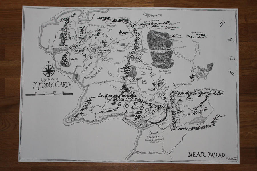 map drawn by hand the realm of middle earth by actingitoutmakeup