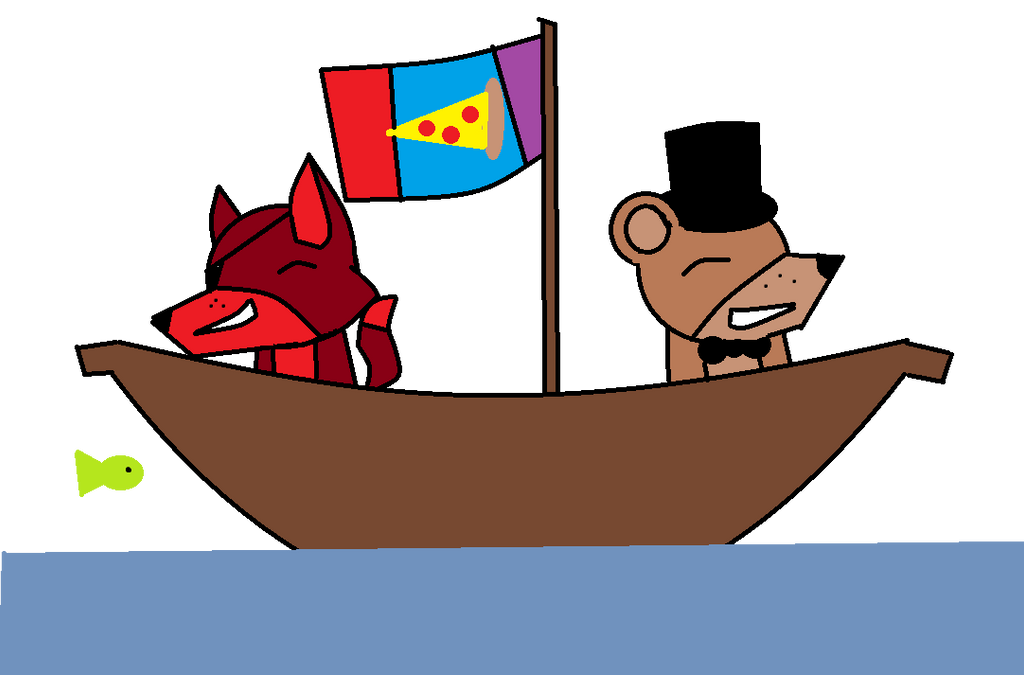Foxy and Freddy are on a ship by TropicaIDeer