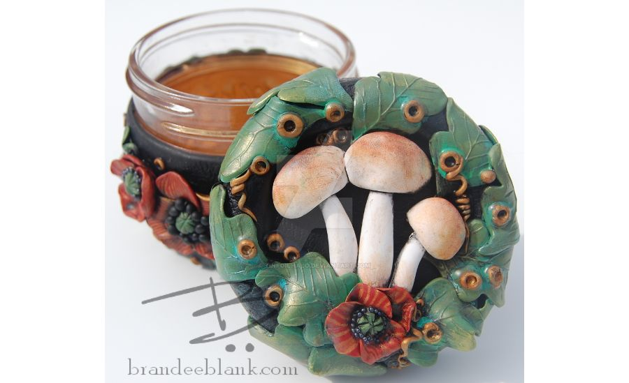 Poppies and Mushrooms Stash Jar by TinfoilHalo