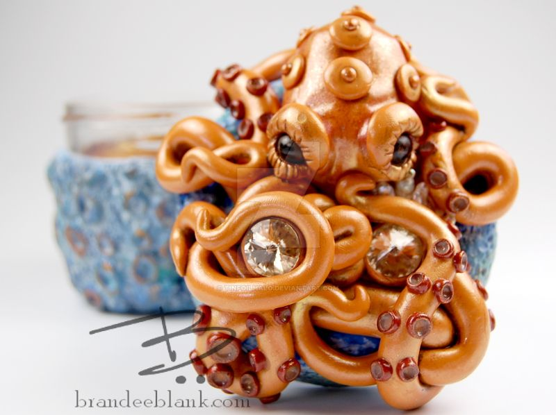 Orange Octopus on Blue Coral Stash Jar by TinfoilHalo