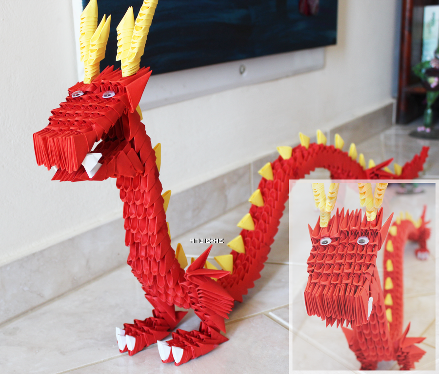 3D origami chinese dragon by angie-hz on DeviantArt