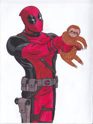 Deadpool and the stuffed toy sloth