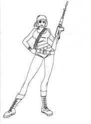 Guerilla Girl lineart by Acidbl00d