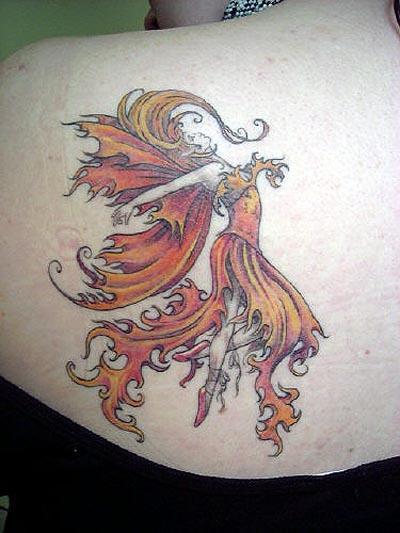 FireDancer - shoulder tattoo