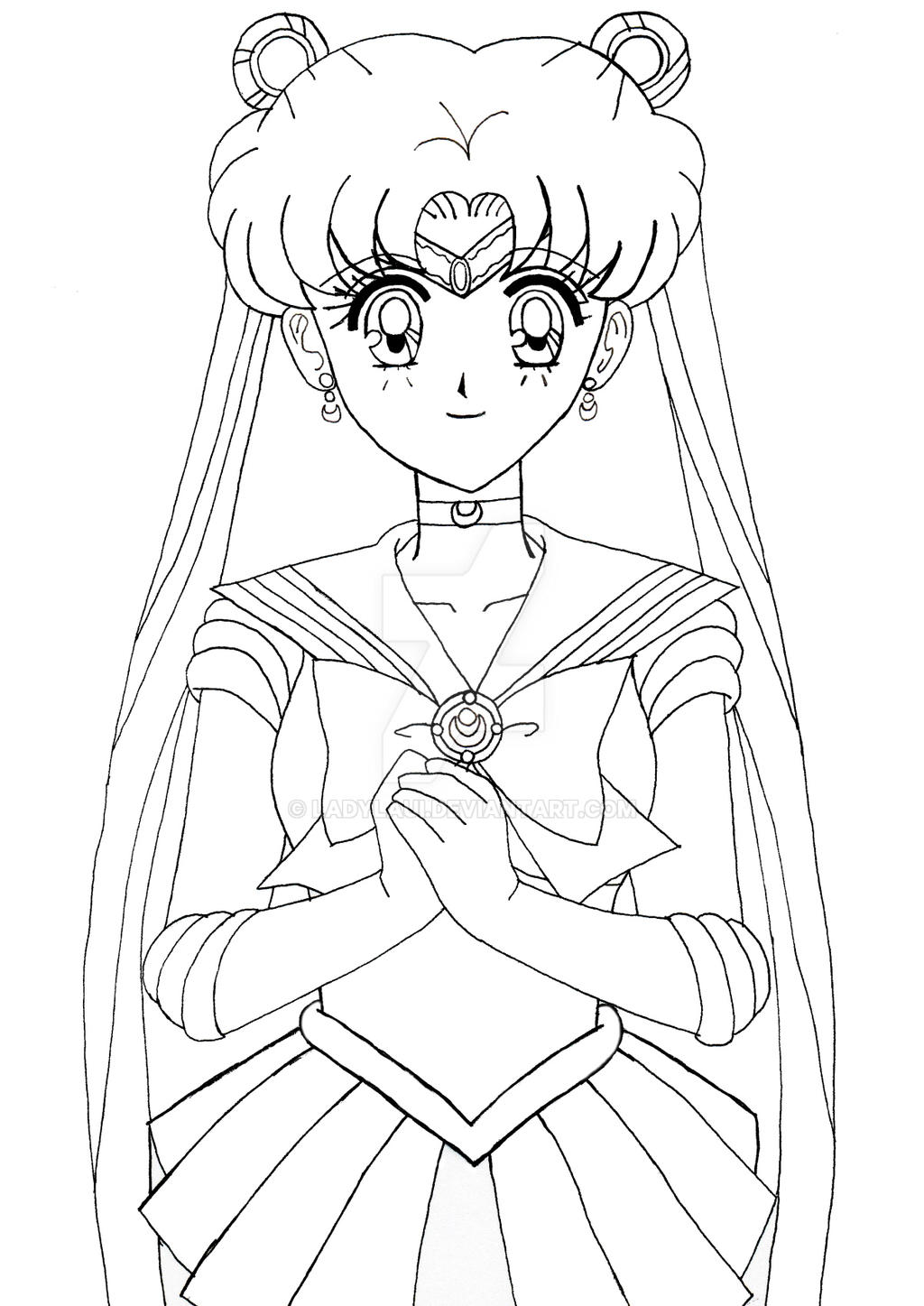 Line Drawing Moon : Lineart sailor moon first form by ladylaui on deviantart