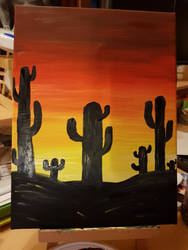 Cacti in the sunset