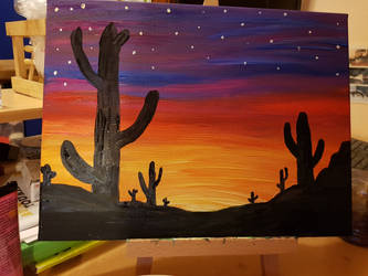 Cacti by falling night