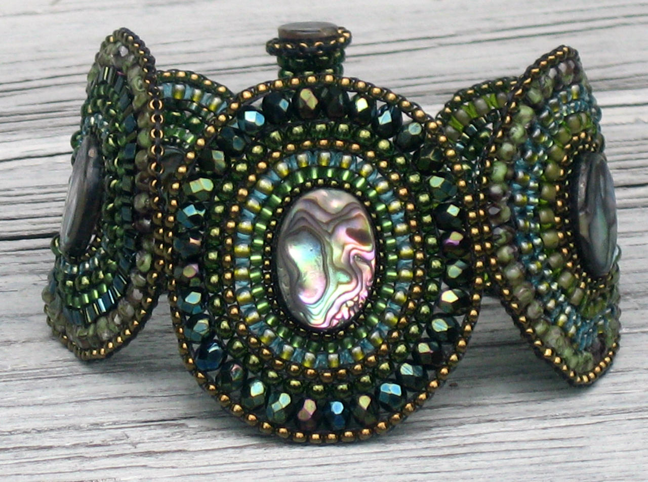 Abalone and Green Bracelet by MyFairLadyVT4