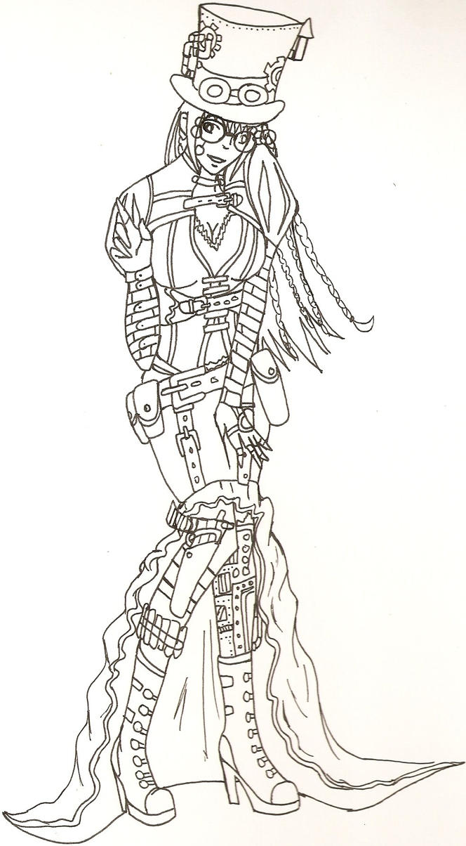 steampunk girl coloring pages - photo#8