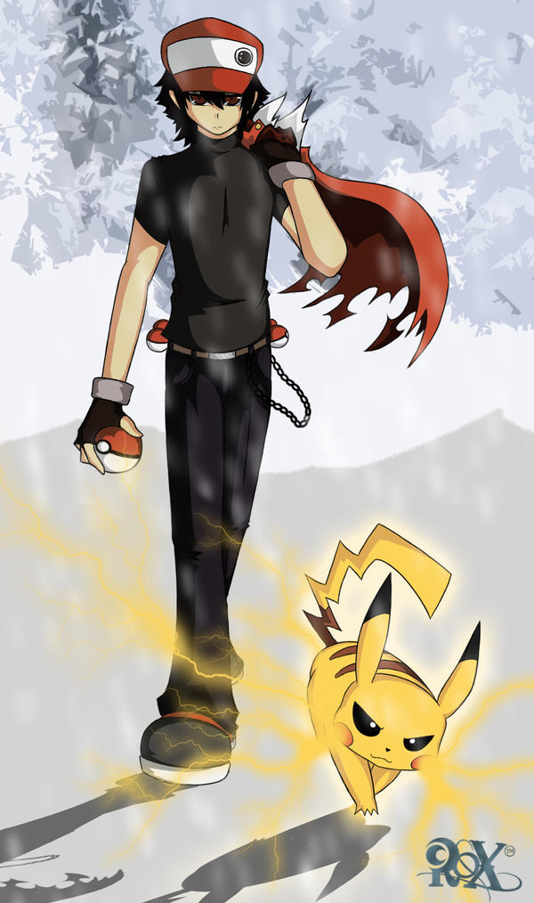 Red and Pikachu (Old) by FenRox on DeviantArt