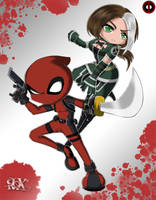 Deadpool and Rogue by FenRox