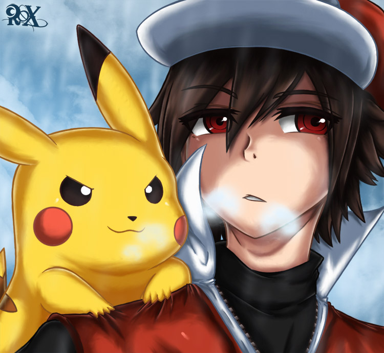 Red and Pikachu by FenRox on DeviantArt