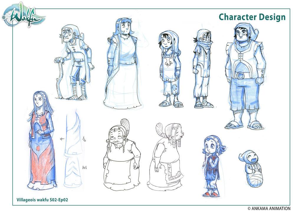 Villageois - recherche character design WaS02-Ep02 by migouze
