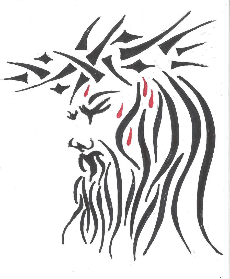 Jesus Cross Tribal Tattoo Gallery