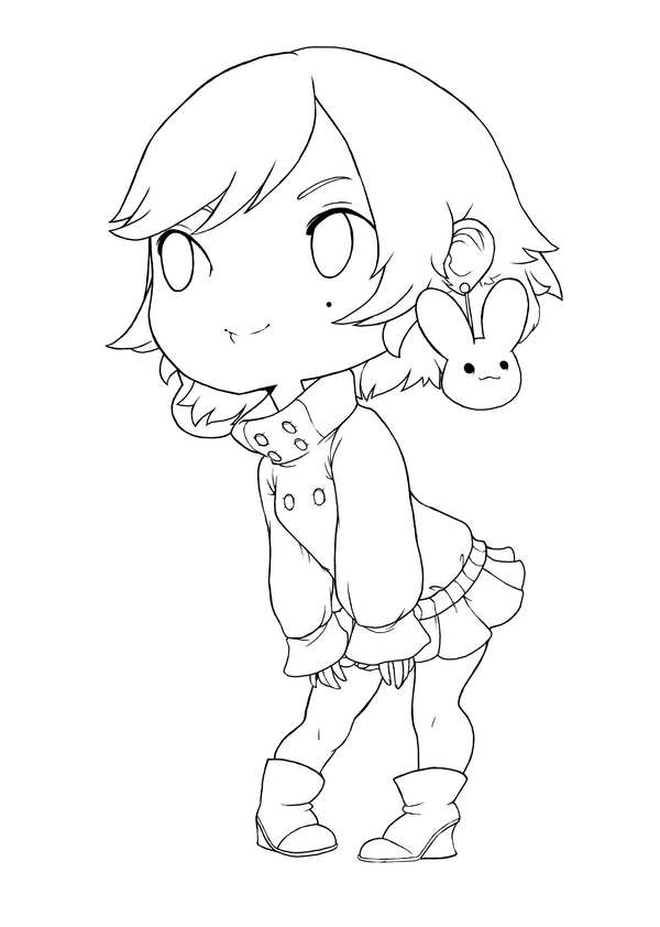 Coloring Lineart : Chibi line art by qeius on deviantart