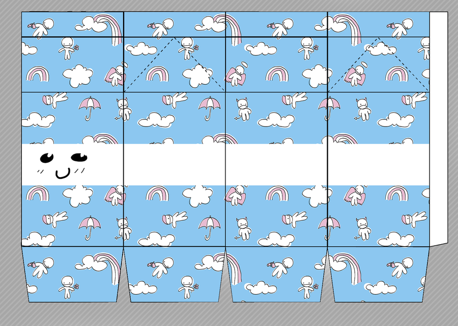Clouds and rainbows cute milkbox by heisotsu on deviantart for Cute papercraft templates