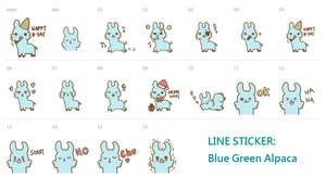 LINE Sticker - Blue Green Alpaca