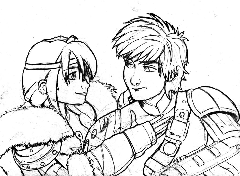 Astrid and Hiccup by grim1978