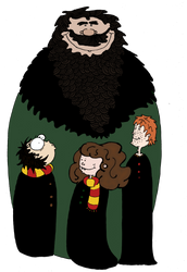 Hagrid and the kids by Ptite-Lux