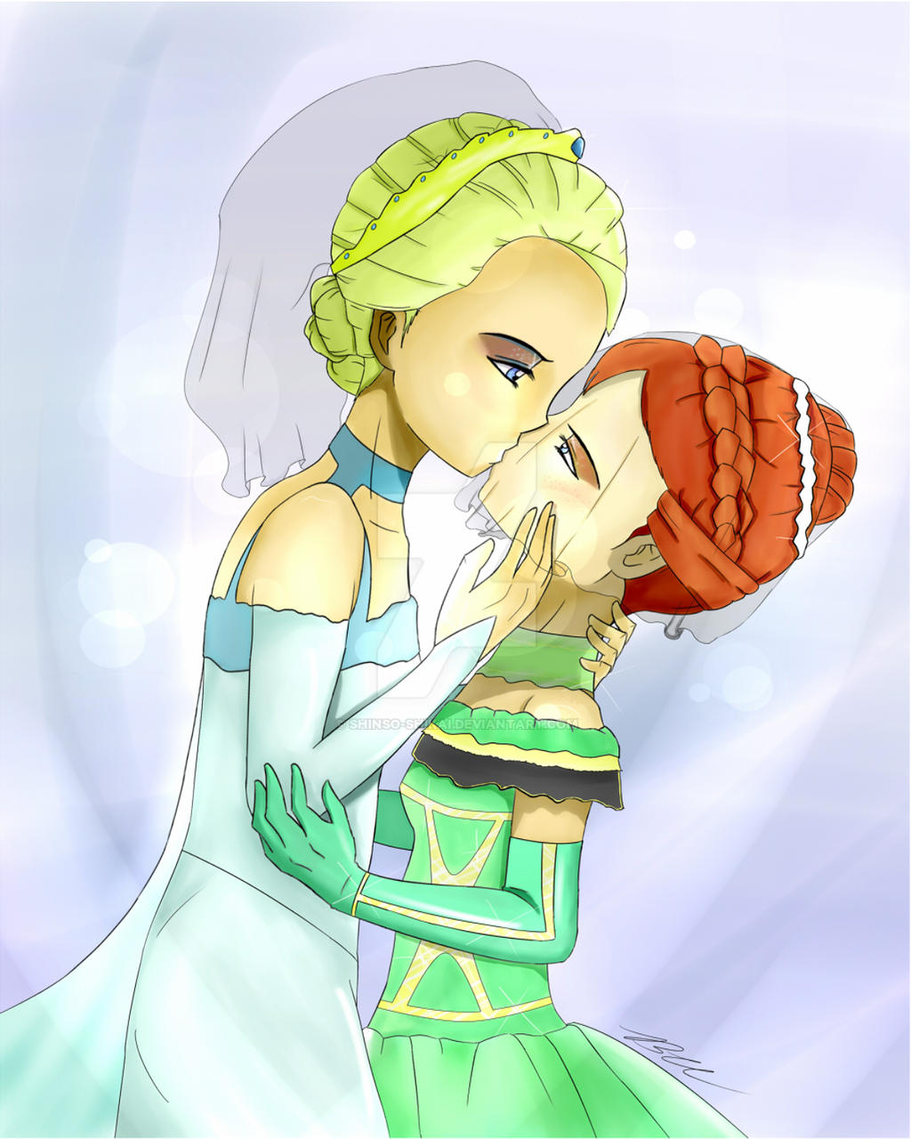 elsa and anna sharing their wedding kiss frozen by