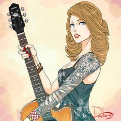 Kate Denson with her guitar, YAMAOKA.