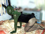 Sexy green Zentai rabbit