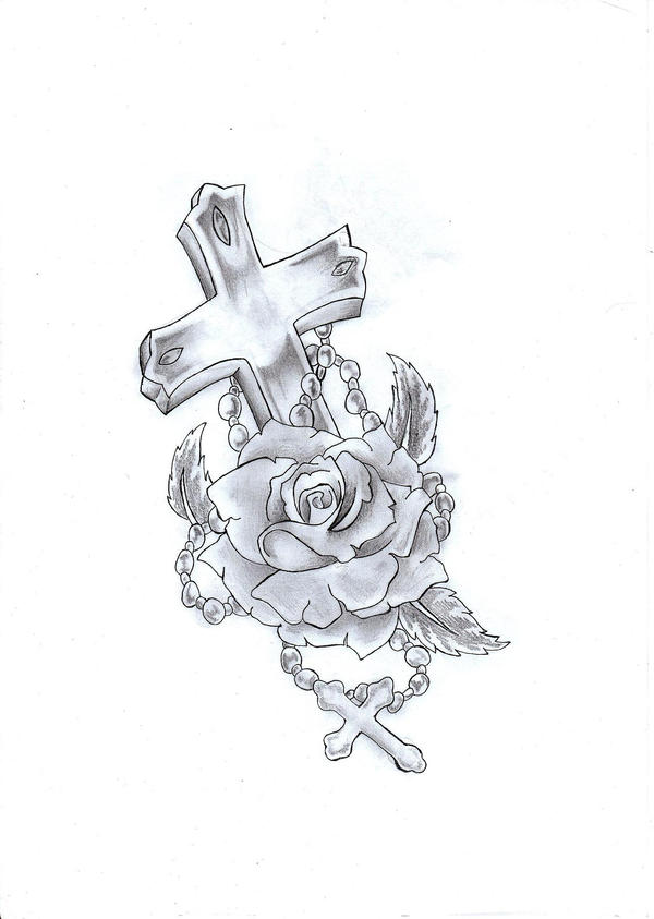 Cross rose tattoo by ryice on deviantart for Memory cross template