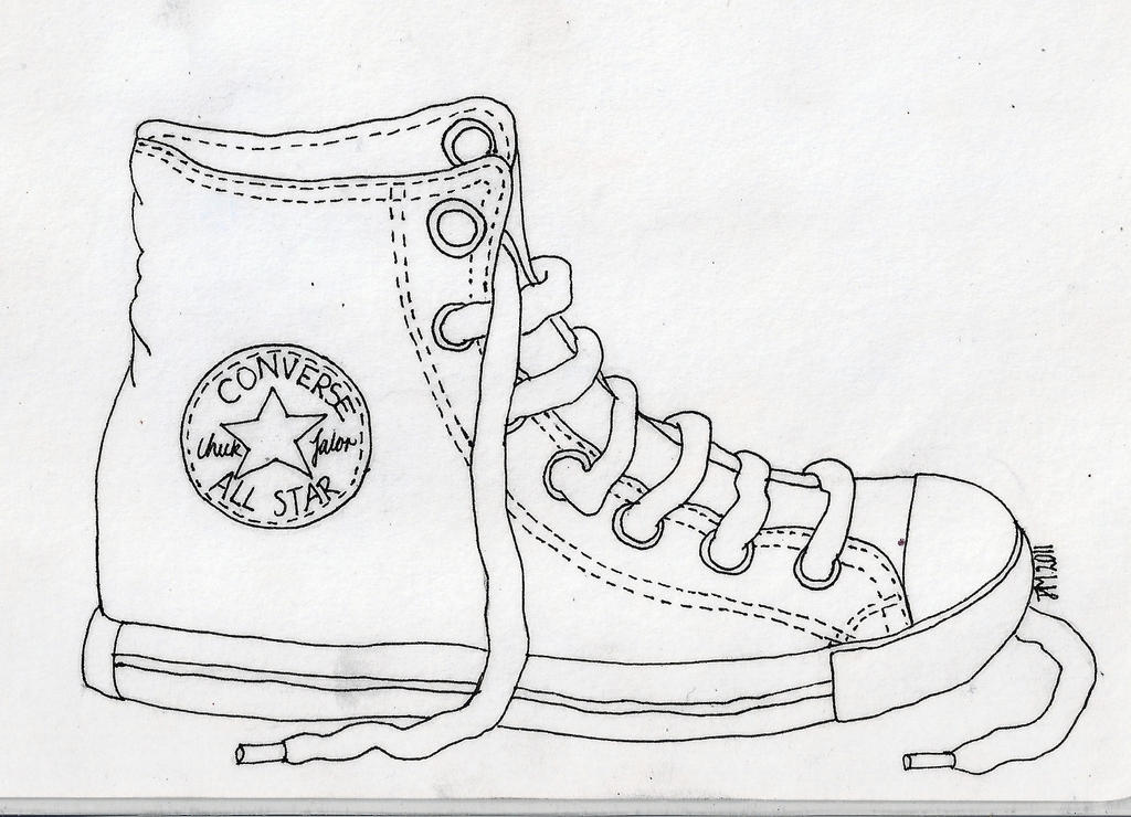 Contour Line Drawing Of Shoes : Converse shoe by basenjiboy on deviantart