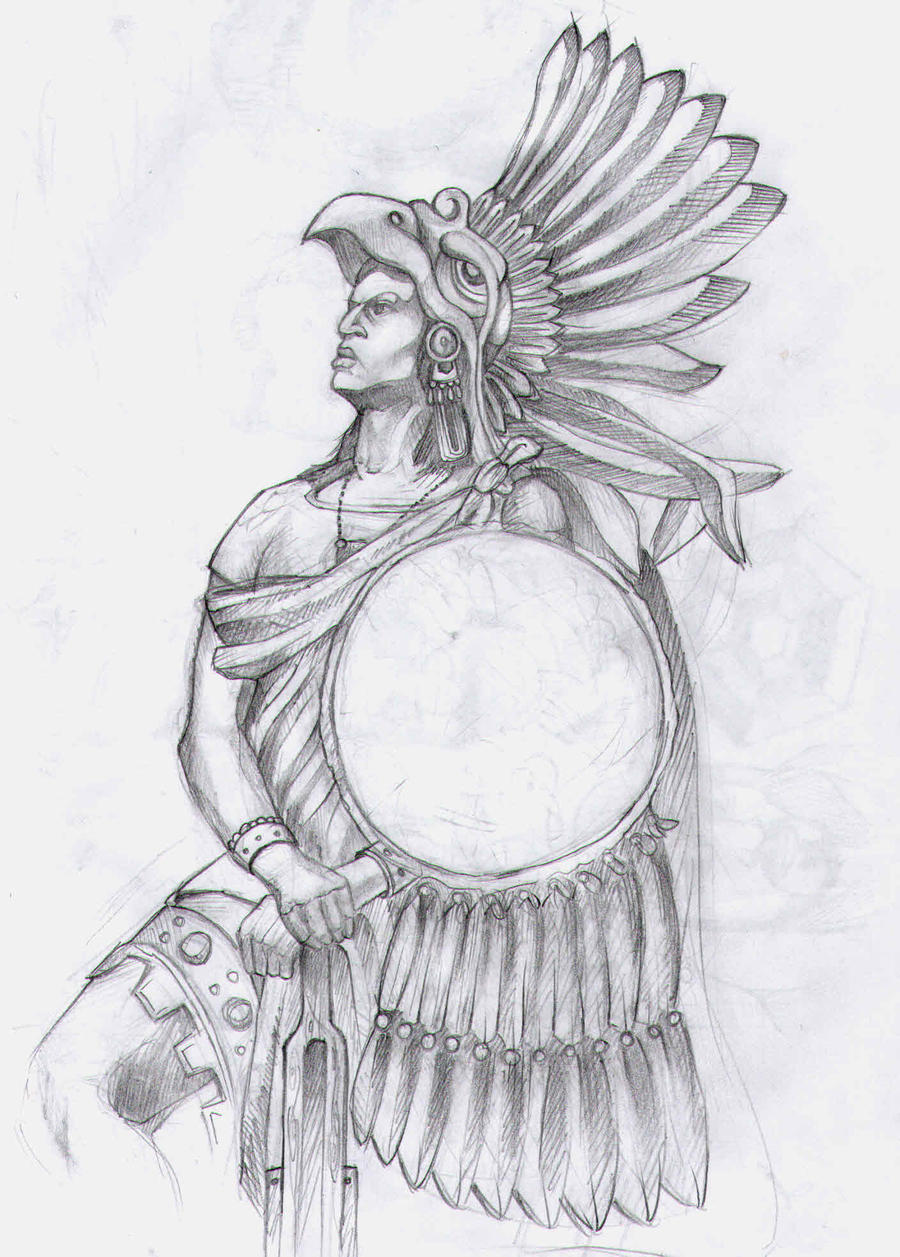 Aztec Warrior by theEGAS on DeviantArt  Aztec Pencil Drawings