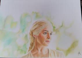 Emila Clarke as Daenerys Targaryen Drawing by mathijs050