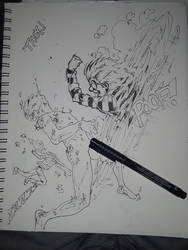 Teleporter Punch! sketch by FreshNightmare