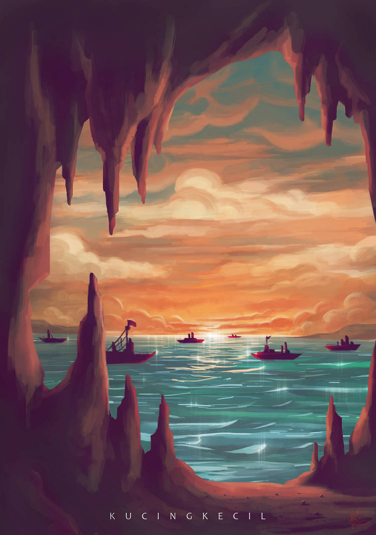 Sunset From Cave by Villian-KucingKecil