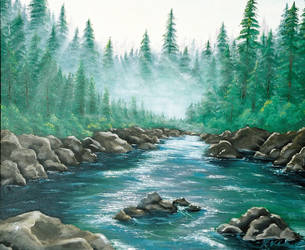 Misty Mountain River by tiger-croc