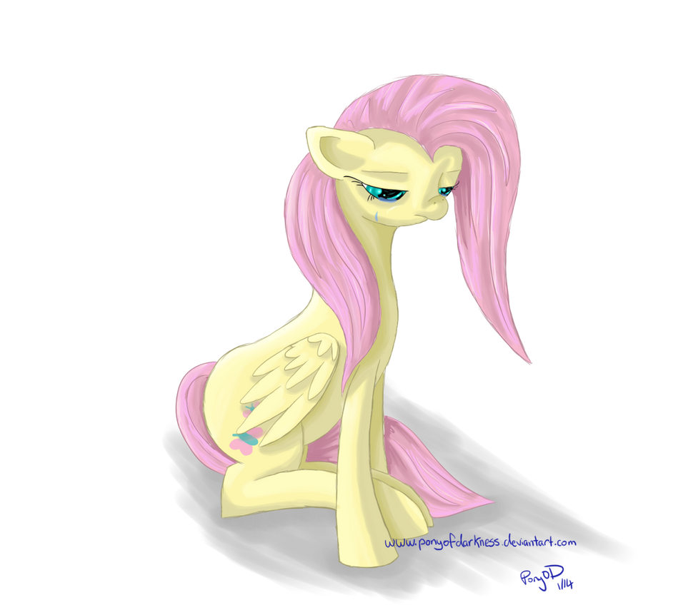 [Sketch] Sad Fluttershy by GlacialFalls