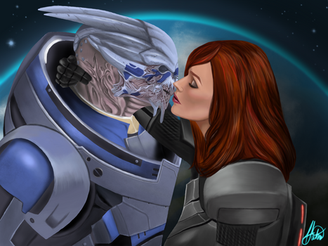 You'll Never Be Alone ~ Garrus and Femshep Fanart