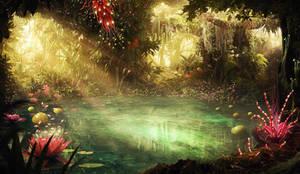 Mystical pond jungle