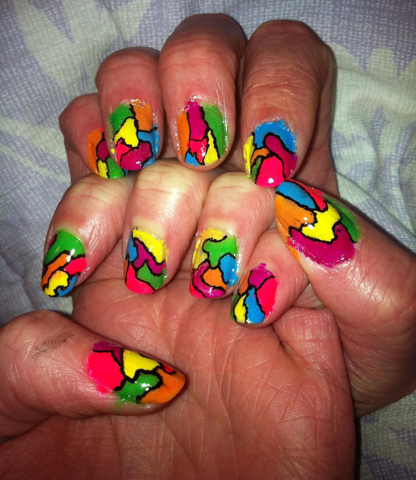 Stained Glass Nail Art: Neon Stained Glass Nails By Zappe On DeviantART