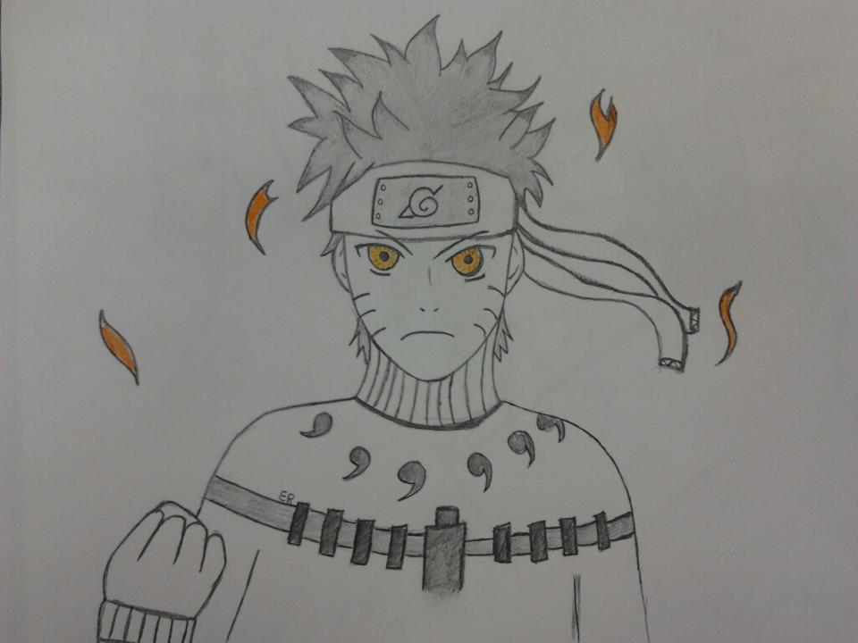 Naruto Shippuden Nine Tailed Fox Mode Drawing
