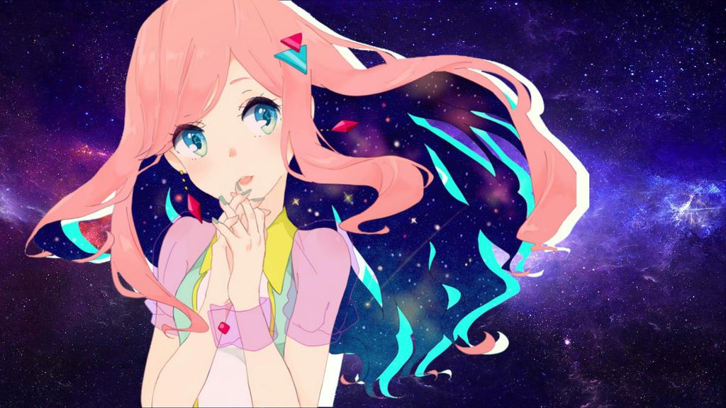 Galaxy Desktop Wallpaper Anime Girl Edit By Lizzywolffire6 On Deviantart