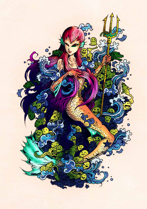 Mermaid From Doodle Invasion COLORED By Seikrei