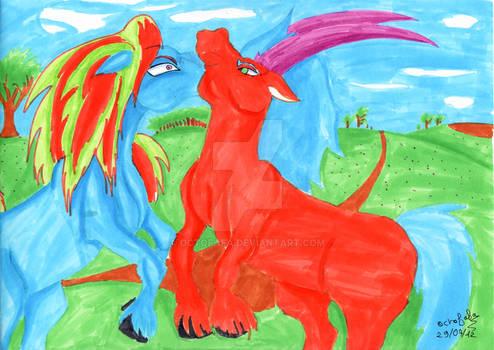 Two horses battle